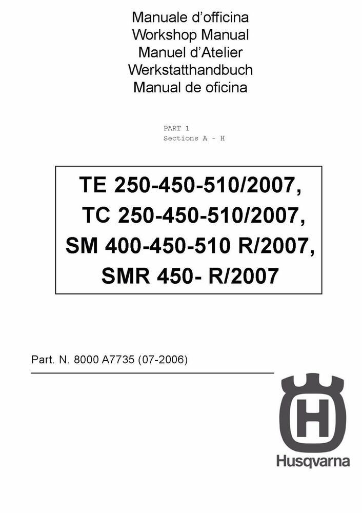 husqvarna te tc smr 250 400 450 510 service repair workshop manual