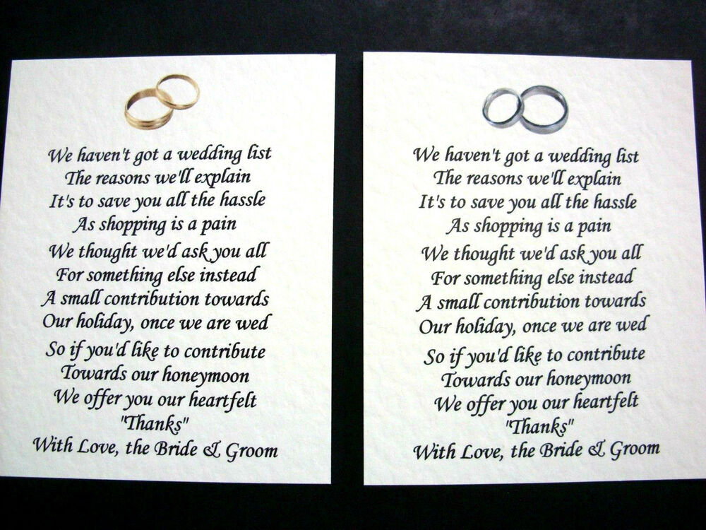 20 Wedding Poems Asking For Money Gifts Not Presents Ref No 2 Ebay