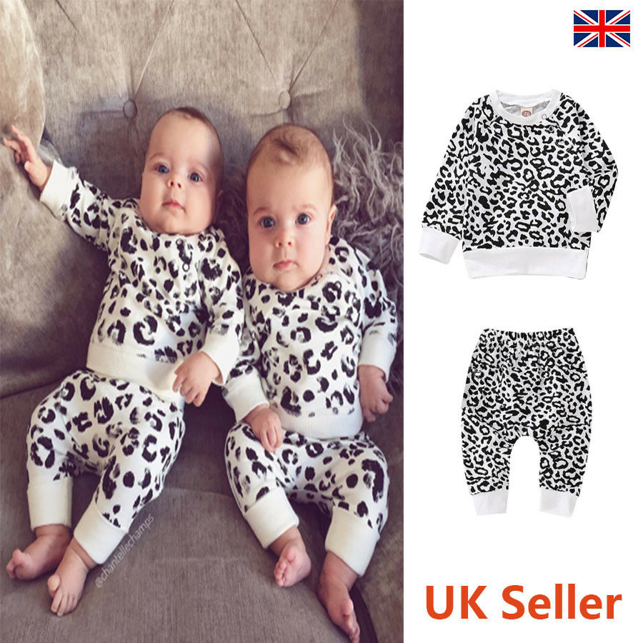 bee3c3aaa Details about Newborn Toddler Baby Girl Boy Leopard Print Tops Pants  Tracksuits Infant Clothes