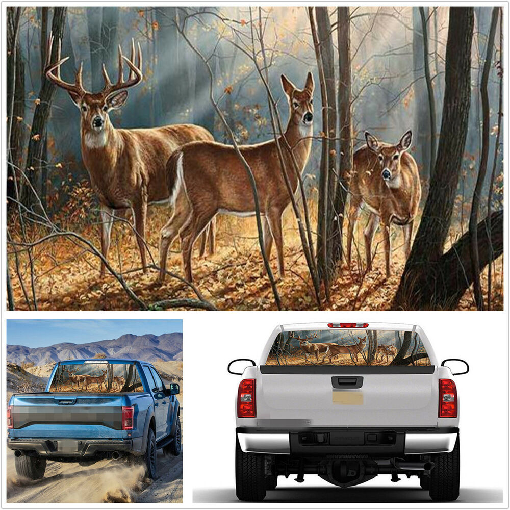 Details about suv truck rear window decal forest animals deer family graphics sticker 135x36cm