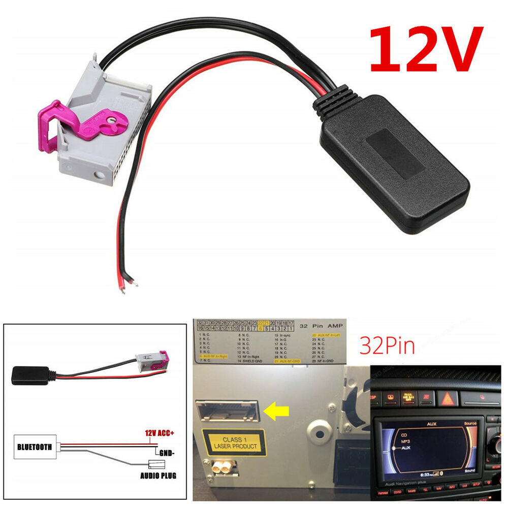12v 32 pin plastic bluetooth adapter aux cable for a3 a4 a6 a8 tt r8 rns e 7169996779918 ebay. Black Bedroom Furniture Sets. Home Design Ideas