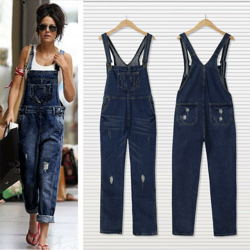 072b5a02dff1 Details about Women s Loose Denim Pants Hole Overalls Straps Jumpsuit  Rompers Trousers Jeans
