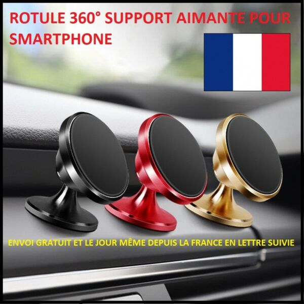 SUPPORT MAGNETIQUE ROTULE 360° PORTE TELEPHONE VOITURE SMARTPHONE GPS IPHONE MP3