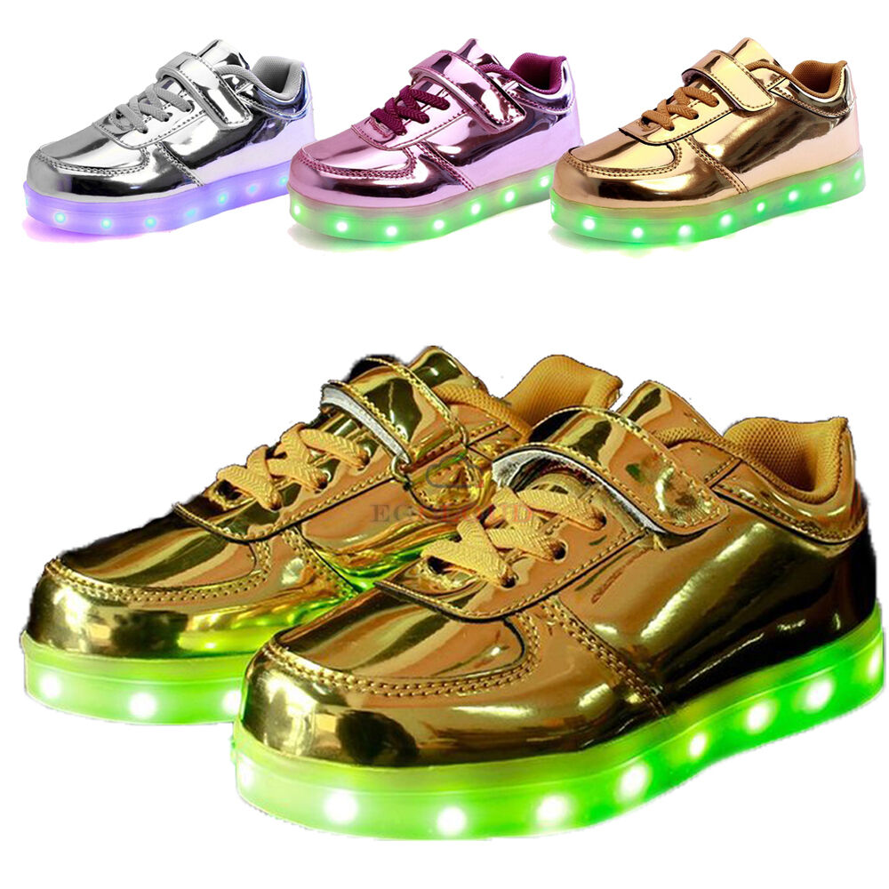 da40cdf061e4 Details about 7 Colors Kid Boy Girl Upgraded USB Charging LED Light up  Shoes Flashing Sneakers