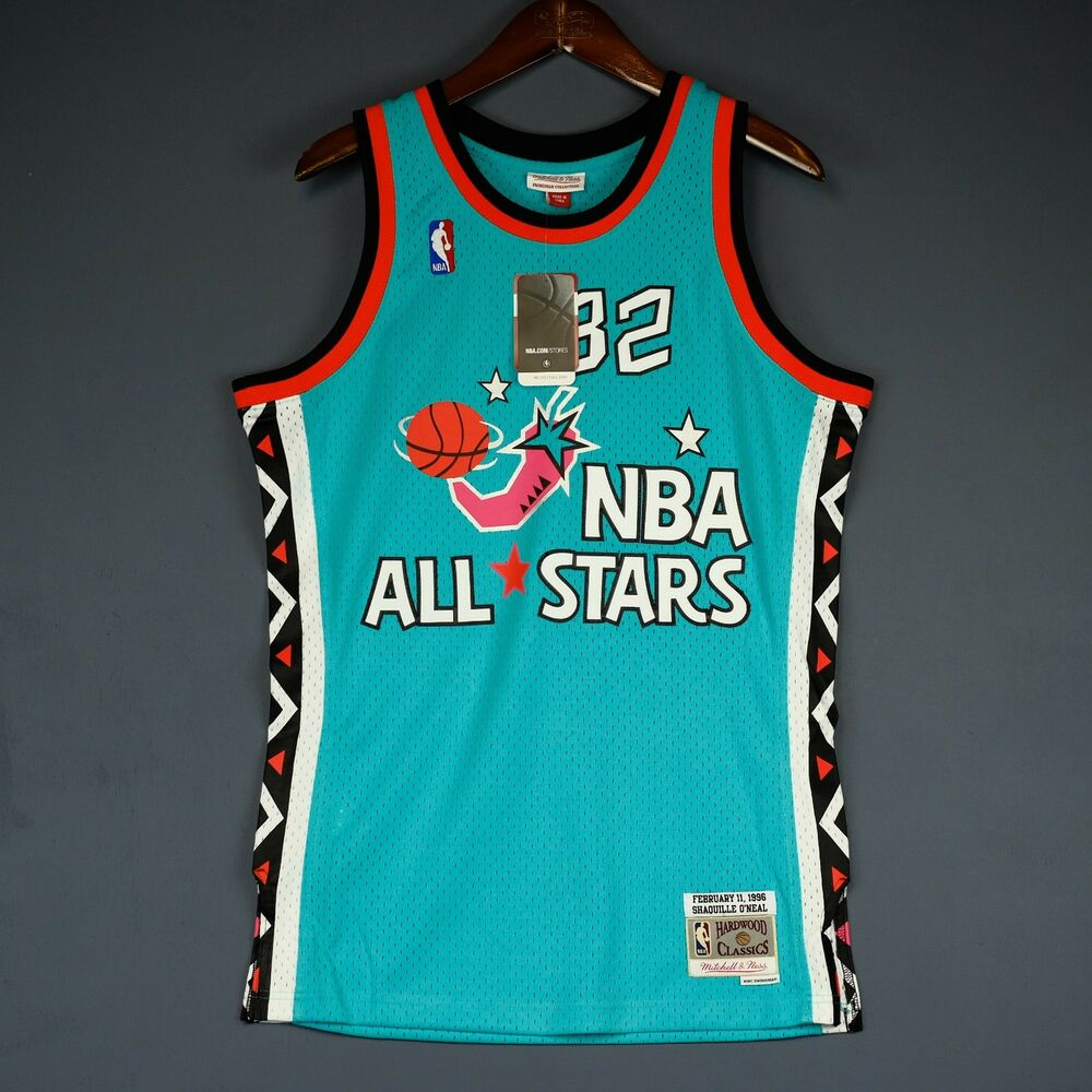 540ff9b2d36 ... best details about 100 authentic shaquille oneal mitchell ness all star  swingman jersey size s 36
