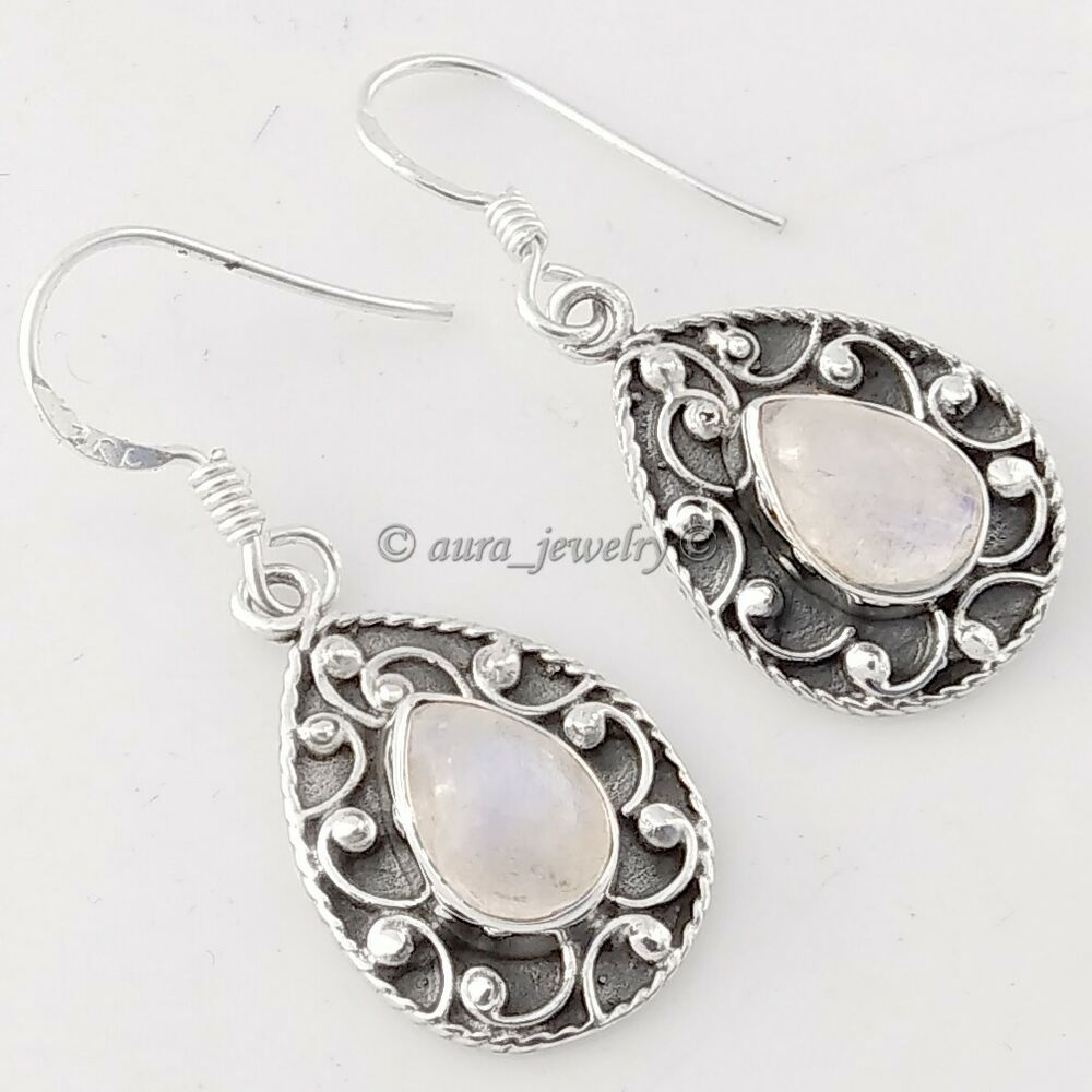 d7a0017ce Details about Rainbow Moonstone Gemstone Solid 925 Sterling Silver Teardrop  Earrings Jewelry