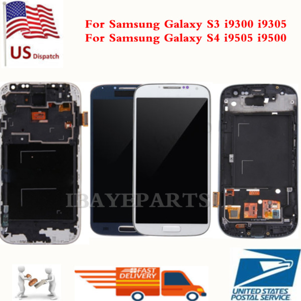 Samsung Galaxy S3 i9300 S4 i9505 LCD Screen Replacement Touch Digitizer+Frame