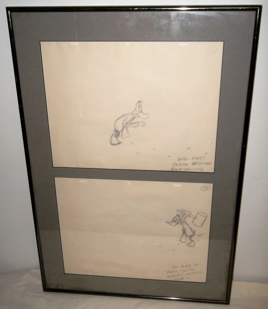 Details about two hand pencil drawings of daffy duck w animation instructions in large frame