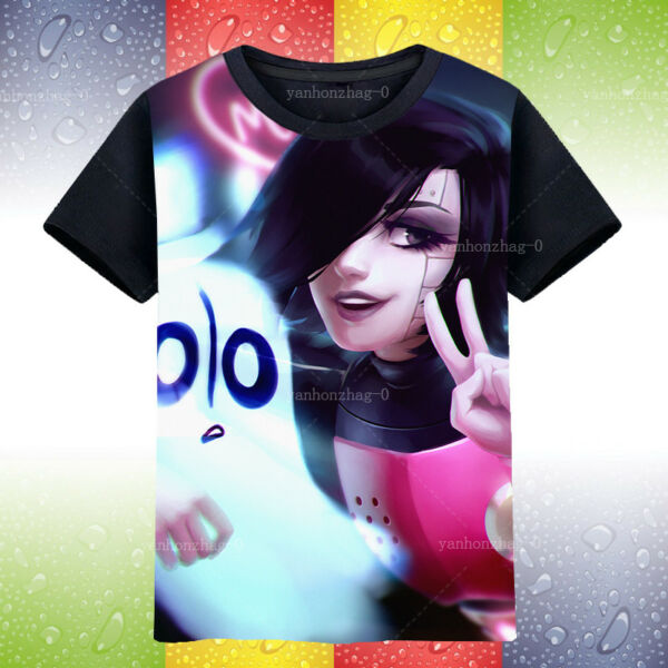 Hot Game Undertale Mettaton Cosplay Fashion Black T-shirt Tee Otaku Tops #D3