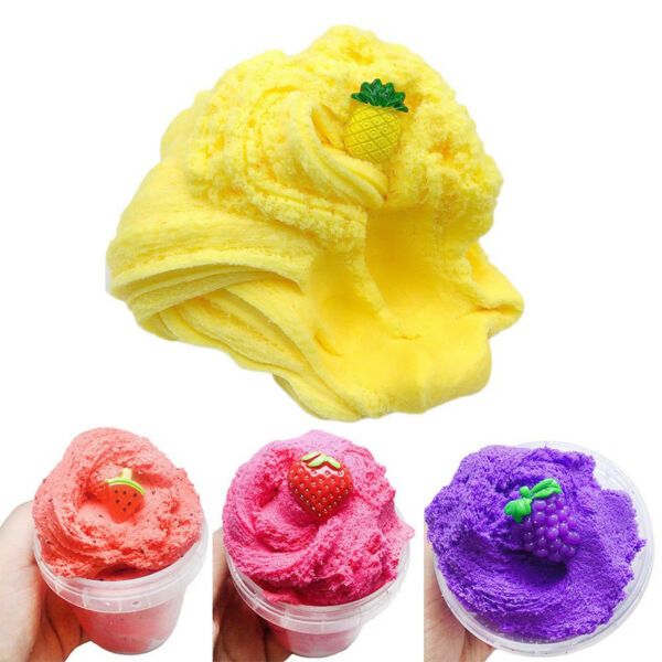 Scented Pineapple Strawberry Floam Sludge Fluffy Slime Fruit Mud Cloud Clay Toy