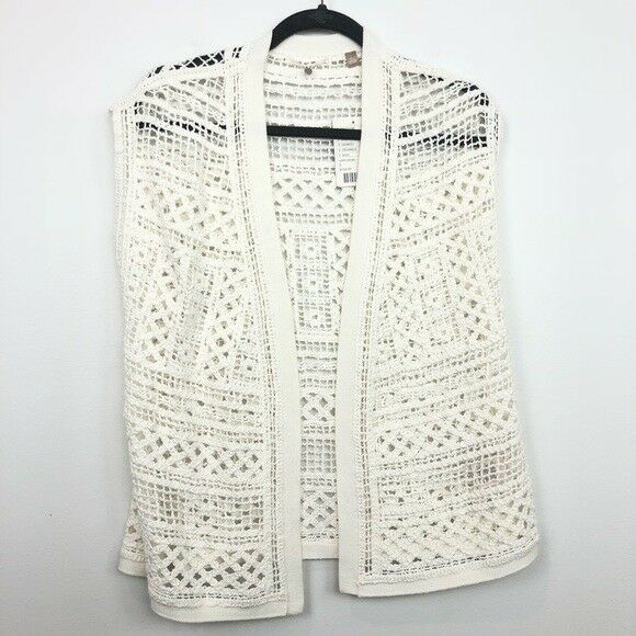 Anthropologie Knitted Knotted Size S Small Ivory Crochet