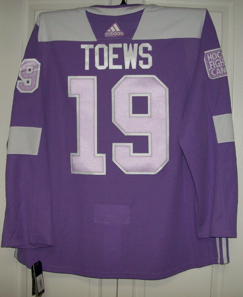 3194ebe9d Details about TOEWS Hockey Fights Cancer Chicago Blackhawks Purple 255J Adidas  NHL Jersey