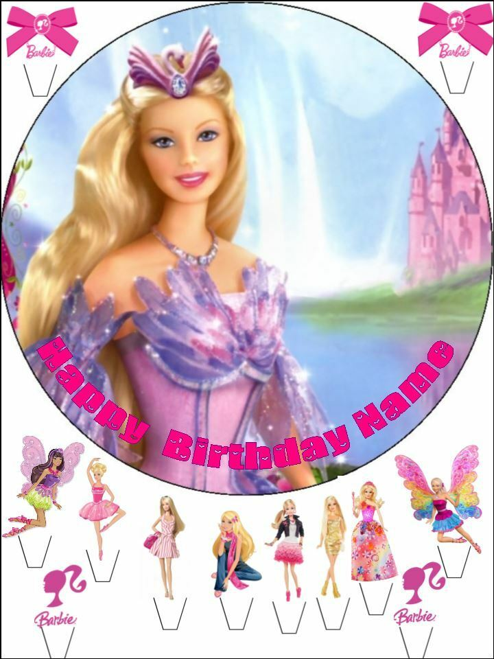 Details About EDIBLE ROUND 75 BARBIE BIRTHDAY CAKE TOPPER AND 12 STANDING TOPPERS