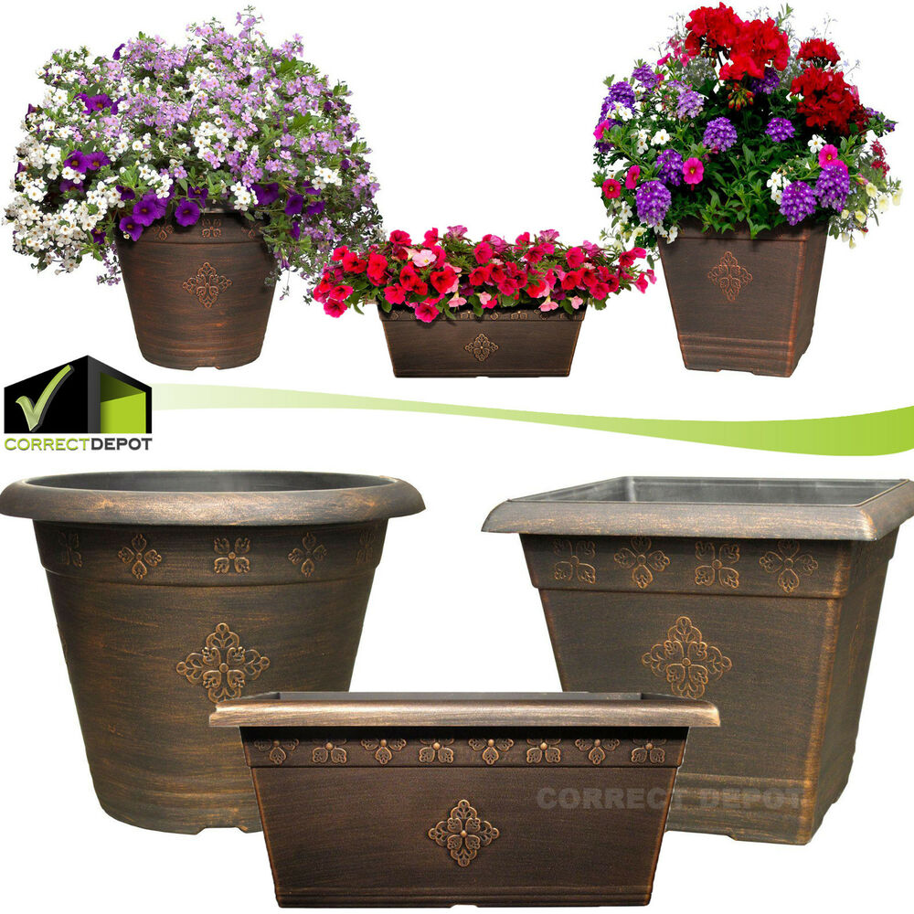 Details About Copper Plastic Large Planters Outdoor Garden Flower Pots Window Box Porch Yard