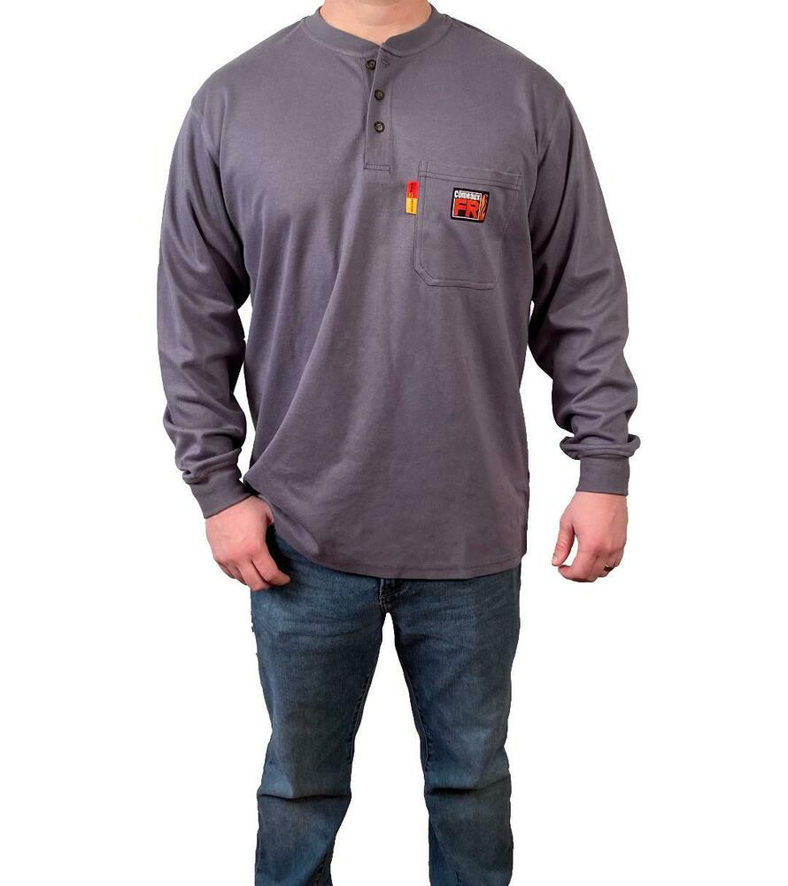 5d1cce72bcaa Details about New Comeaux FR Henley Welding Welder Flame Resistant Long  Sleeve T Shirts HRC2