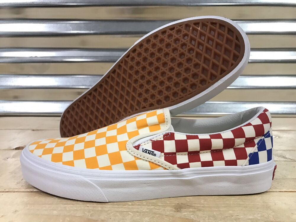 076412bdda Details about Vans Classic Slip On Skate Shoes Checkerboard Multi Yellow SZ  9 ( VN0A38F7VLV )