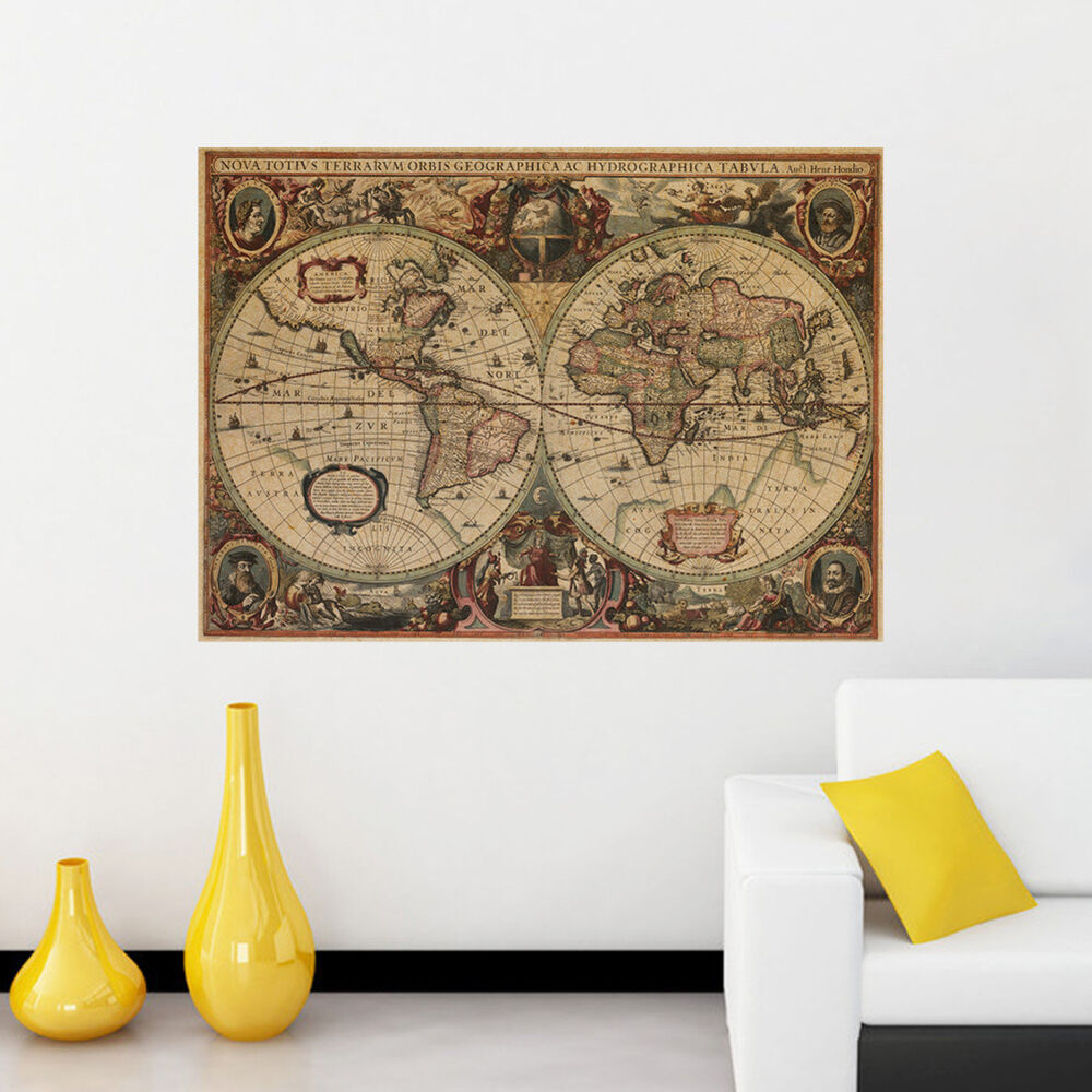 Big World Map Oracal Decal Art Mural Removable Home Decor Wall