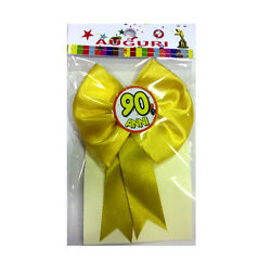 90 YEARS rosette with pin satin 4 11/16x4 11/16in made in italy by mr.gadgets
