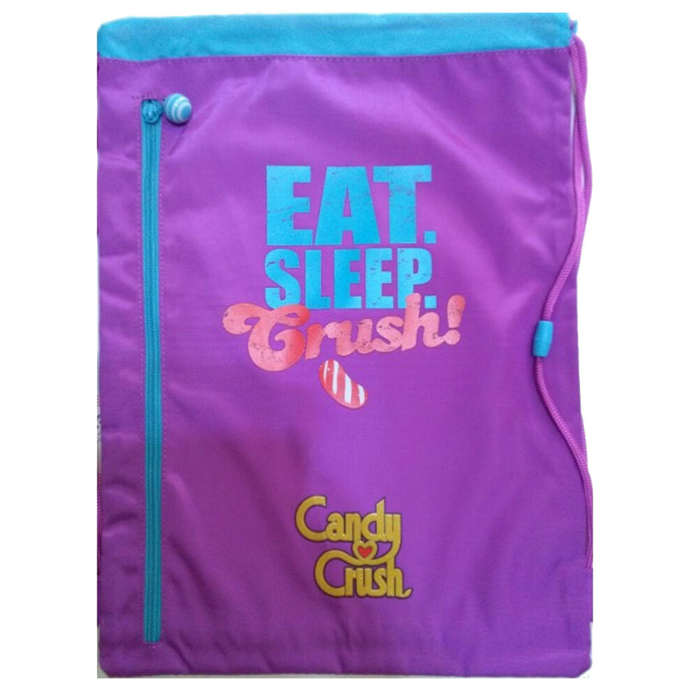 4991408dad0 Details about CANDY CRUSH Bag backpack drawstring fabric violet printed  with zip front 46