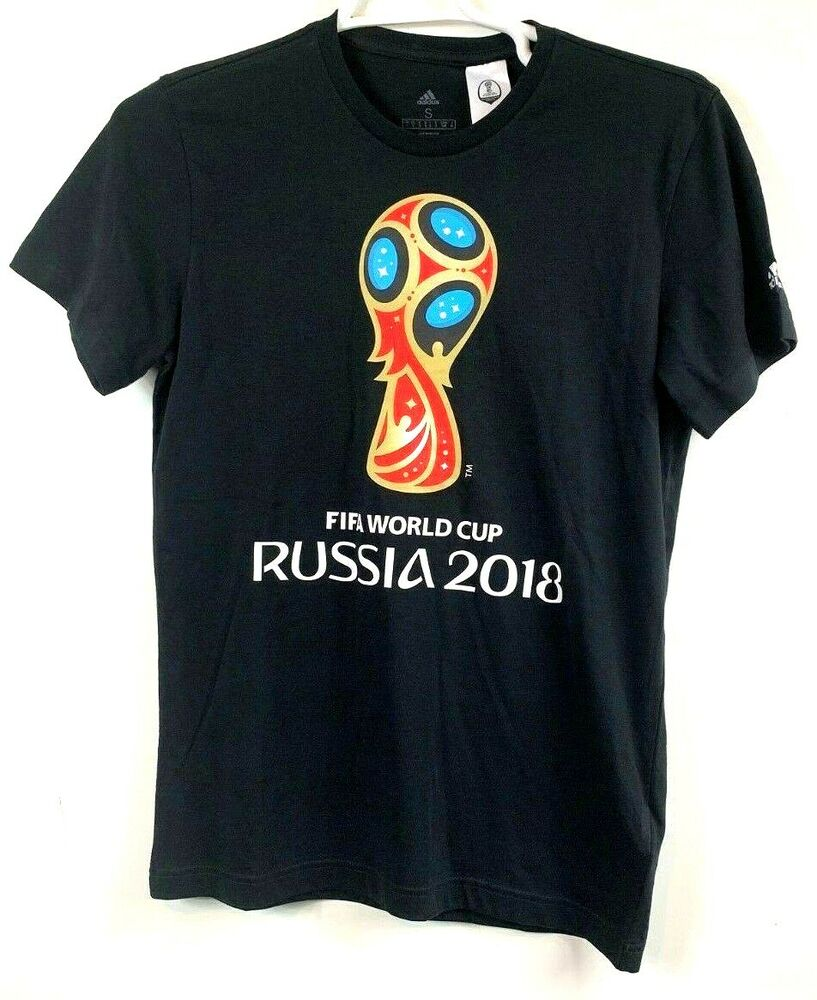 17de87c5e Details about adidas FIFA World Cup Russia 2018 Black Short Sleeve T-Shirt  Soccer Football NWT