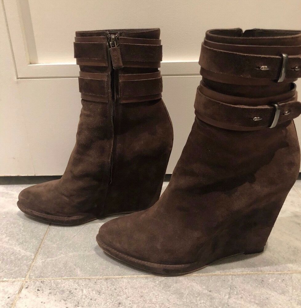 Details about GIVENCHY-WOMEN BROWN SHARK TOOTH WEDGE ANKLE BOOT-SIZE 41-SUEDE  LEATHER-MINT! 69298ef31