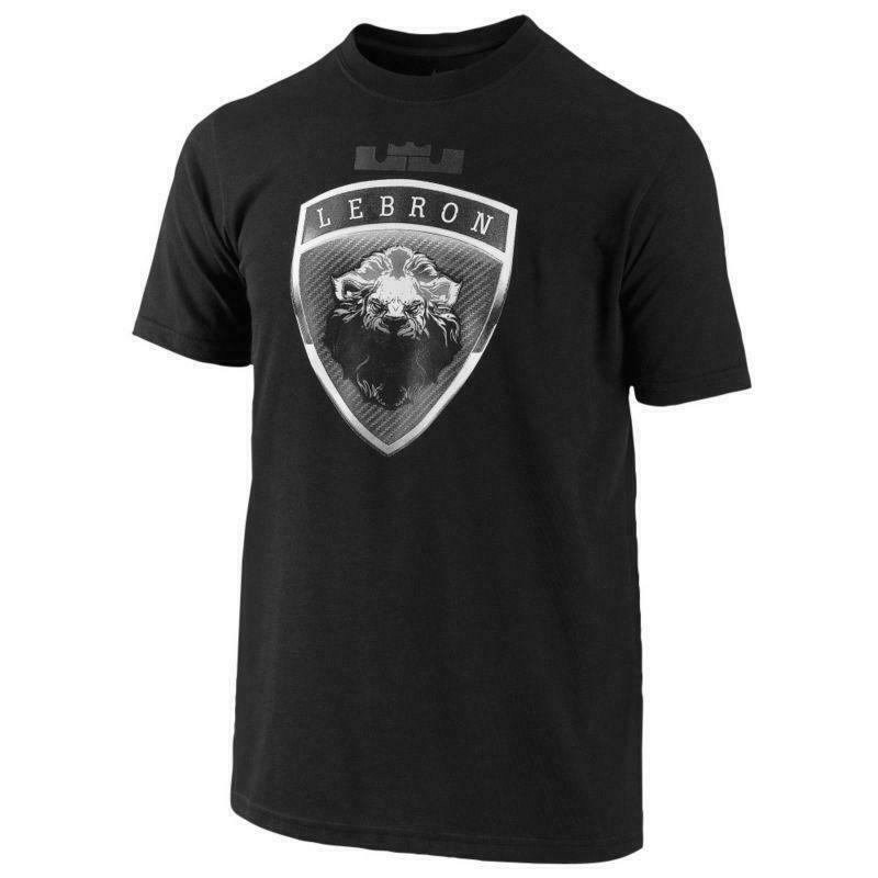 "6a3ba25f Details about Nike Lebron James ""Lion Crest"" Dri-Fit T-Shirt Grey 482835 065"