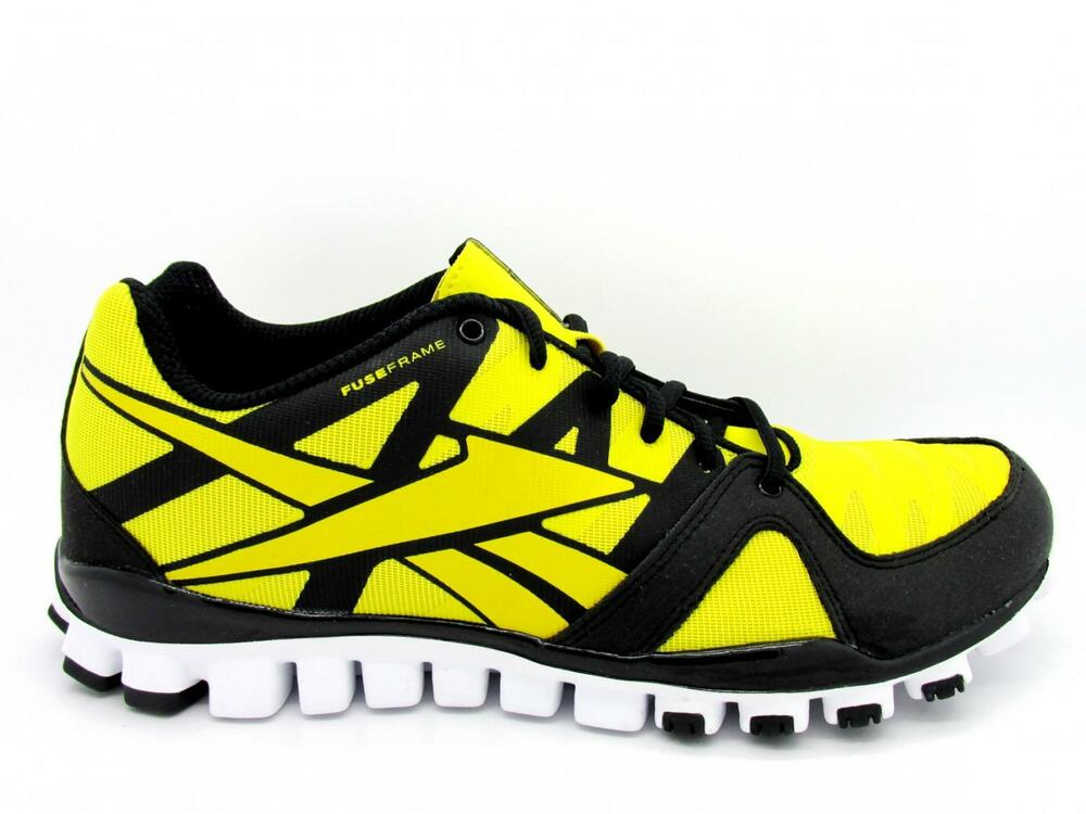 f92d9c30be4b Details about Mens REEBOK REALFLEX TRANSITION 3.0 Yellow Running Trainers  V48263