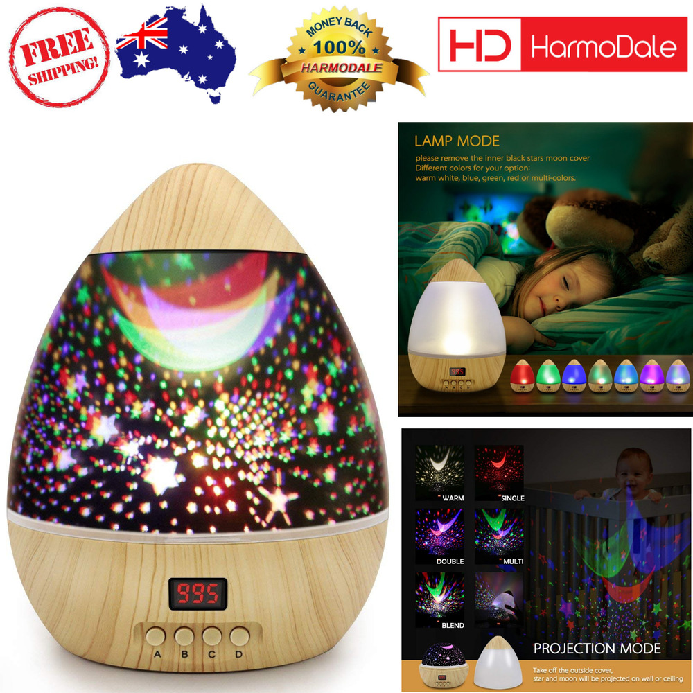 Details about star projector night light led bedroom colorful rotating lamp for baby kids gift