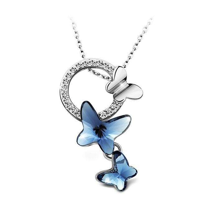 Details About Necklace Pendant Love Crystal Butterfly WOMEN LADY WIFE GIRLFRIEND BIRTHDAY Gift