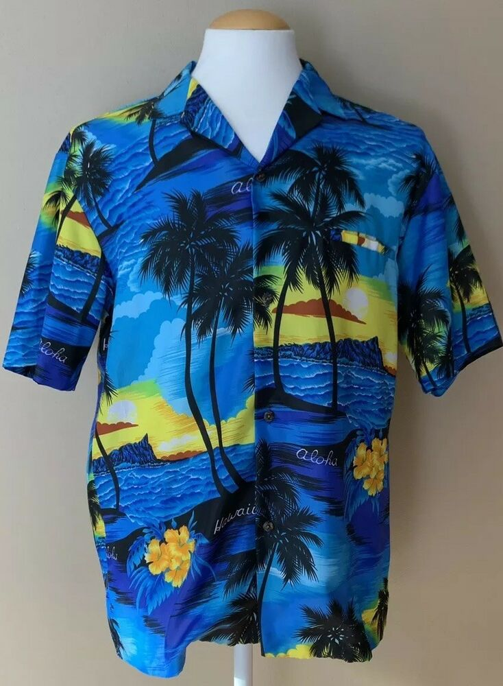 7afdddf6b Details about VTG Men's Royal Creations Aloha Hawaiian Shirt Tropical Palm  Trees Size L Blue