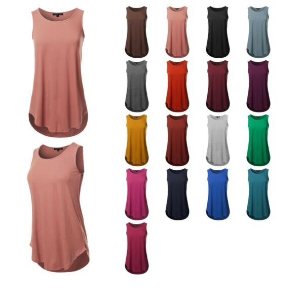 FashionOutfit Women's Loose Fit Solid Sleeveless Round Neck Round Hem Tank Top