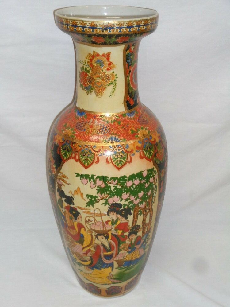 AS IS Vtg Japanese Chinese Porcelain Pottery Floor Vase Oriental 23 Japanese Floor Vase on japanese floor screens, japanese vintage, japanese home, japanese floor pillows, japanese floor lanterns, japanese floor tables, japanese art, japanese floor pottery, japanese floor mats, japanese classic, japanese earthenware, japanese pitchers, japanese floor storage, japanese floor desks, japanese antiques, japanese mirrors, japanese floor chairs, japanese pillar, japanese floor beds, japanese moriage vase,