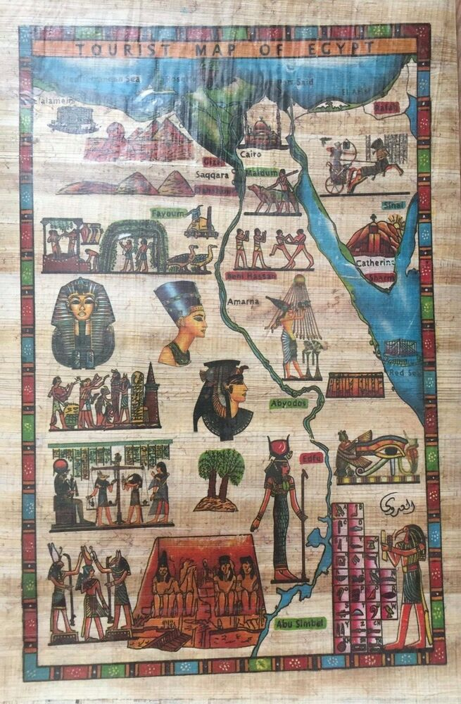 Egyptian Painting Papyrus Paper Authentic Ancient Egypt Map For Kids