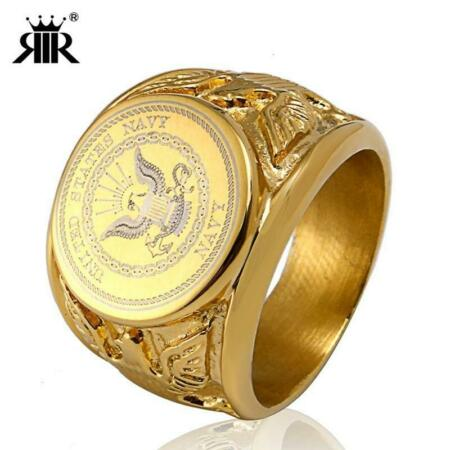 img-Gold USA Military Ring Badge Eagle United States MARINE CORPS US ARMY Men Rings