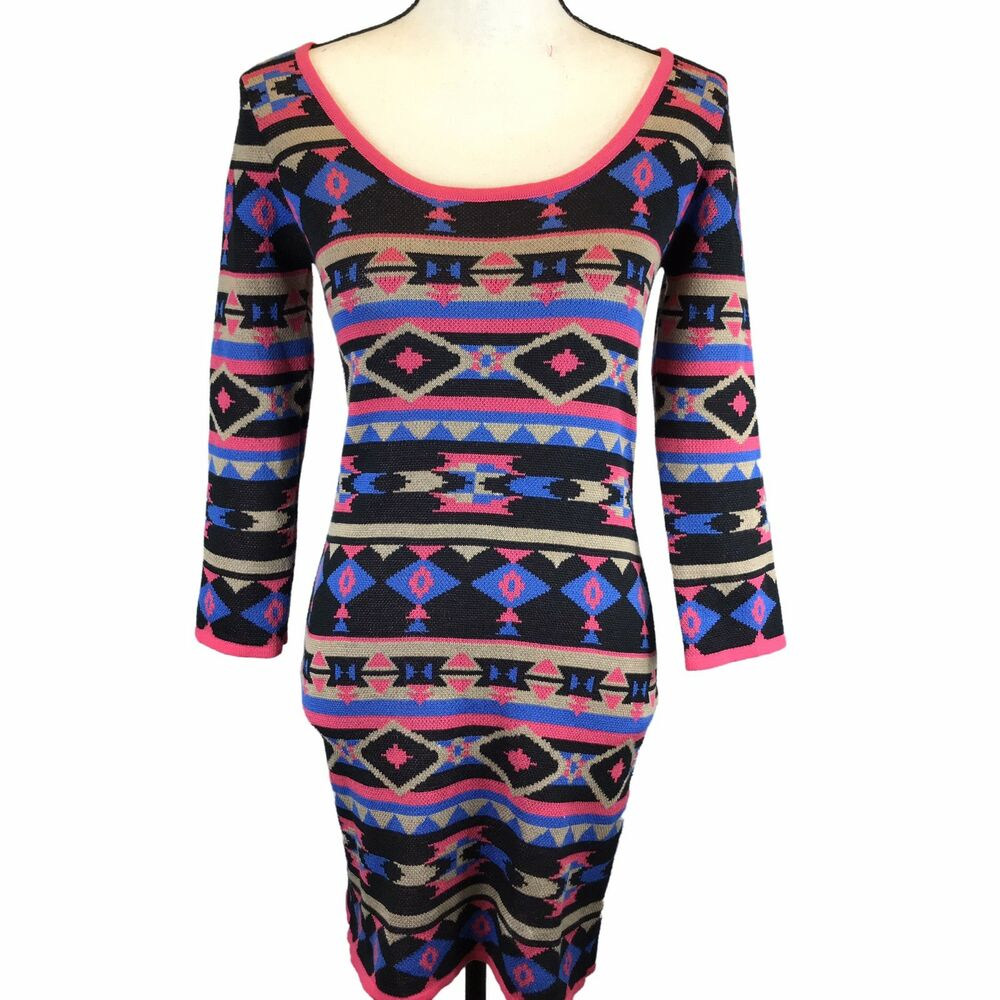 6110ea7288d Details about Anthropologie Flying Tomato Knit Sweater Dress Tunic Boho  Print Sz Medium Aztec