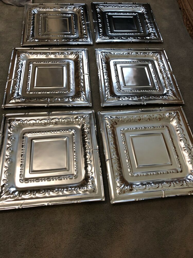 Details About 6 Nail Up Tin Ceiling Tiles Real Metal 24 X Vintage Looking