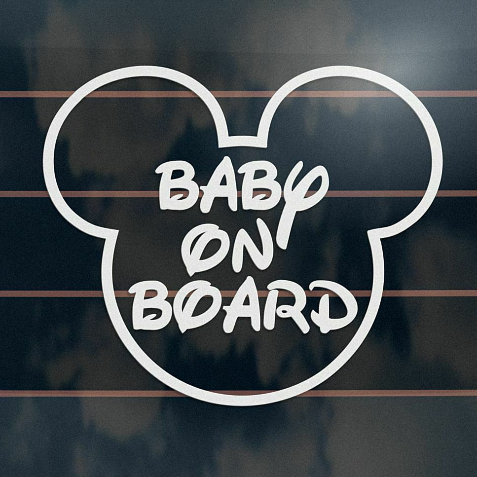Details about baby on board sticker 130mm disney mickey mouse ears car window decal