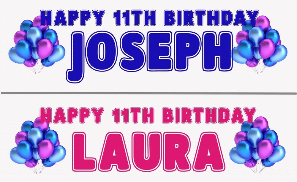 2 PERSONALISED HAPPY BIRTHDAY ANY AGE BANNERS CELEBRATE BOY OR GIRL BALLOON