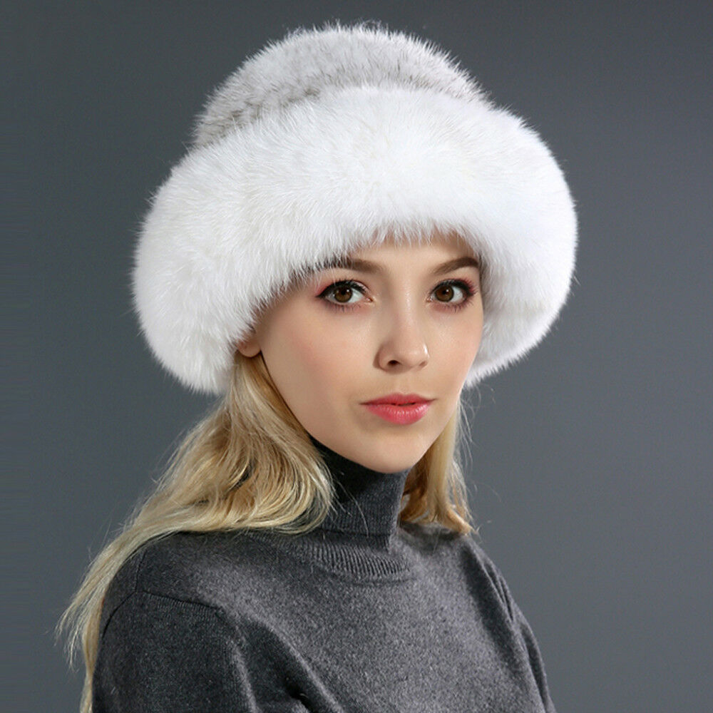 7d10cc82d61 Details about Fashion Winter Women Knitted Real Mink Fur Hat with Fox Fur  Brim Beanies Cap