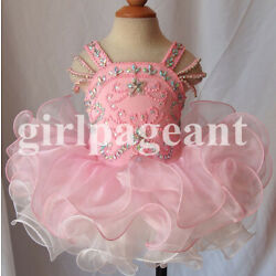 Kyпить 15 color Infant/toddler/baby pink Pageant Dress with hairbow 123 на еВаy.соm