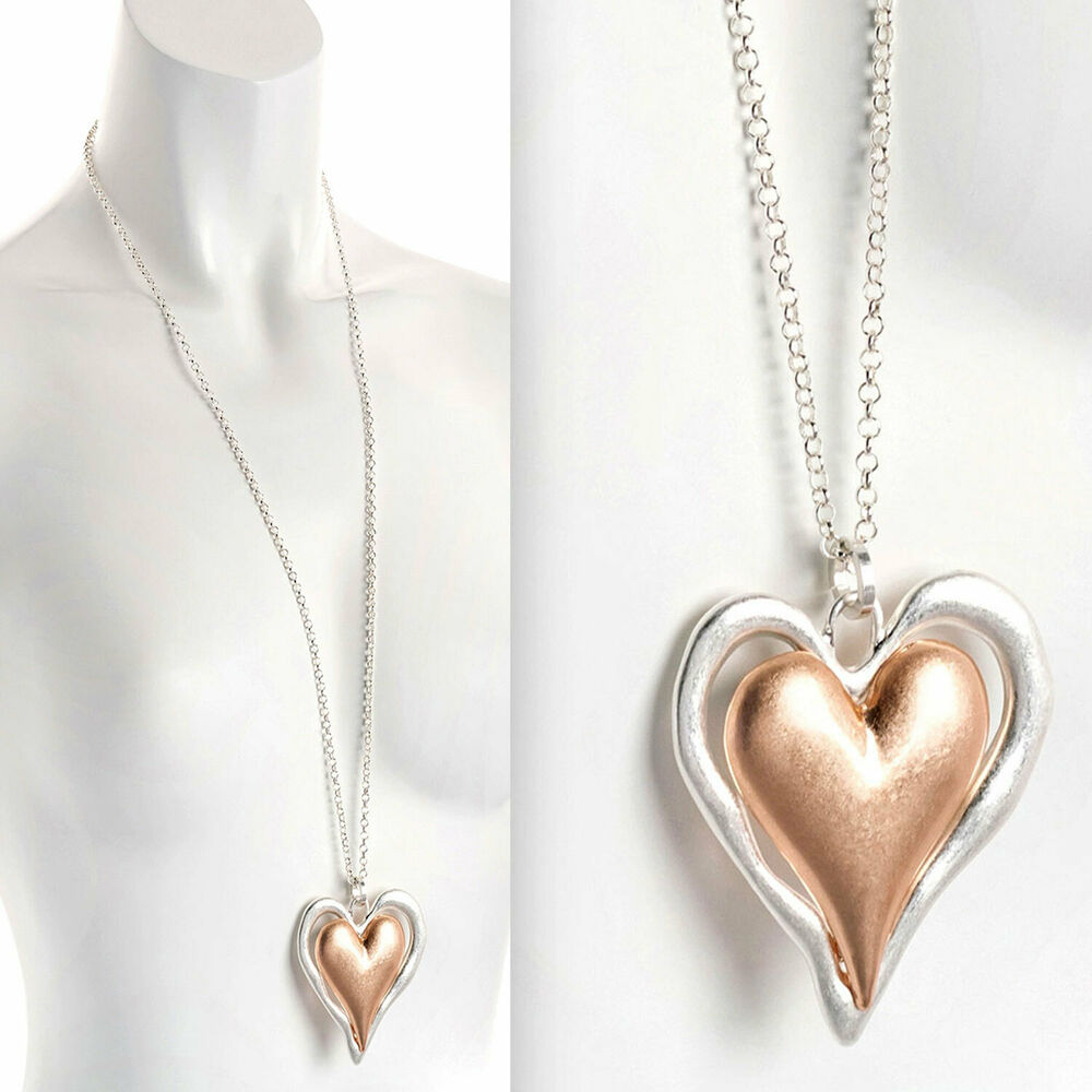 bf4a69c4f3e2 Details about Lagenlook matte rose gold   silver large double heart pendant  long necklace