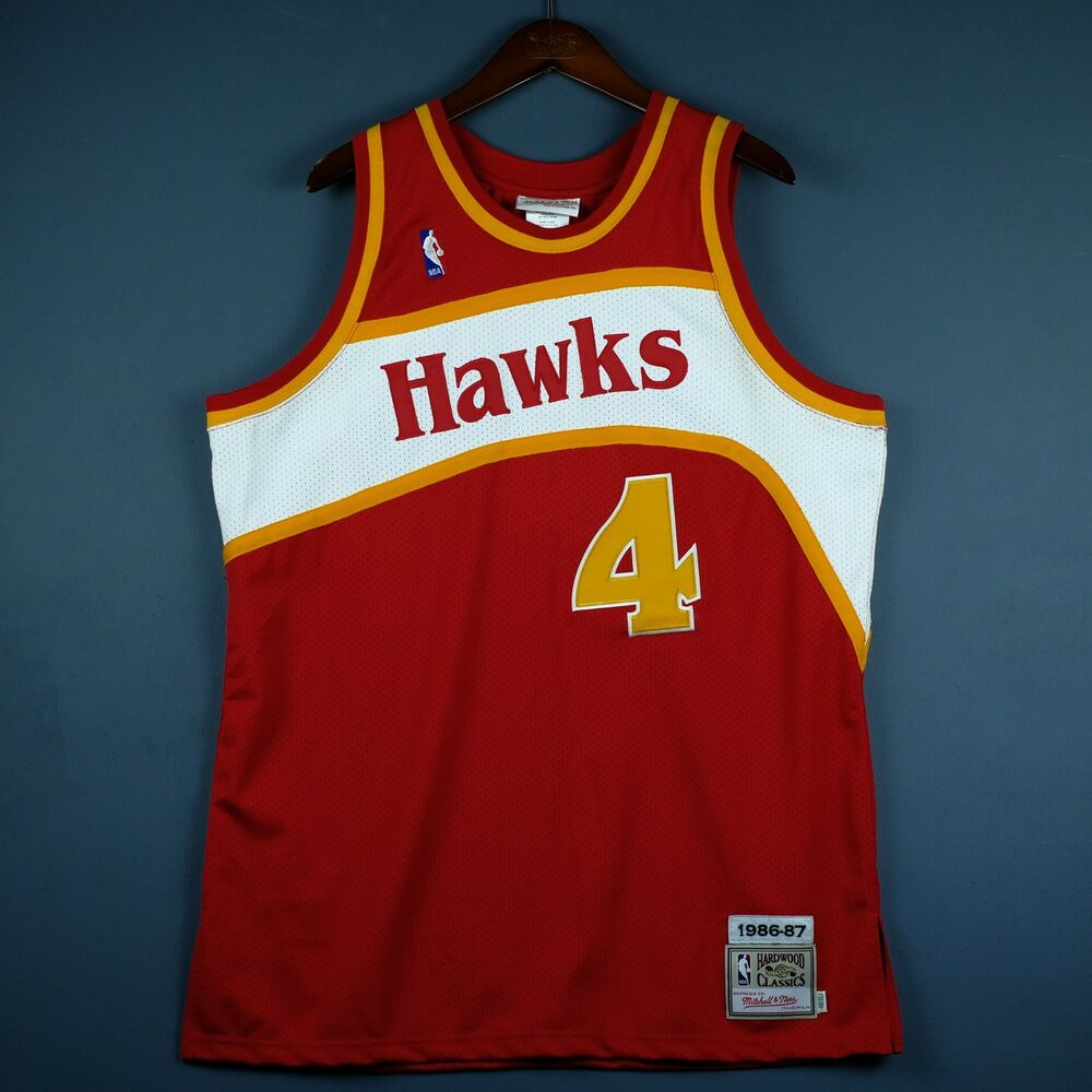 Details about 100% Authentic Mitchell   Ness Spud Webb 86 87 Hawks Jersey  Size 48 XL Mens ad09fdae4