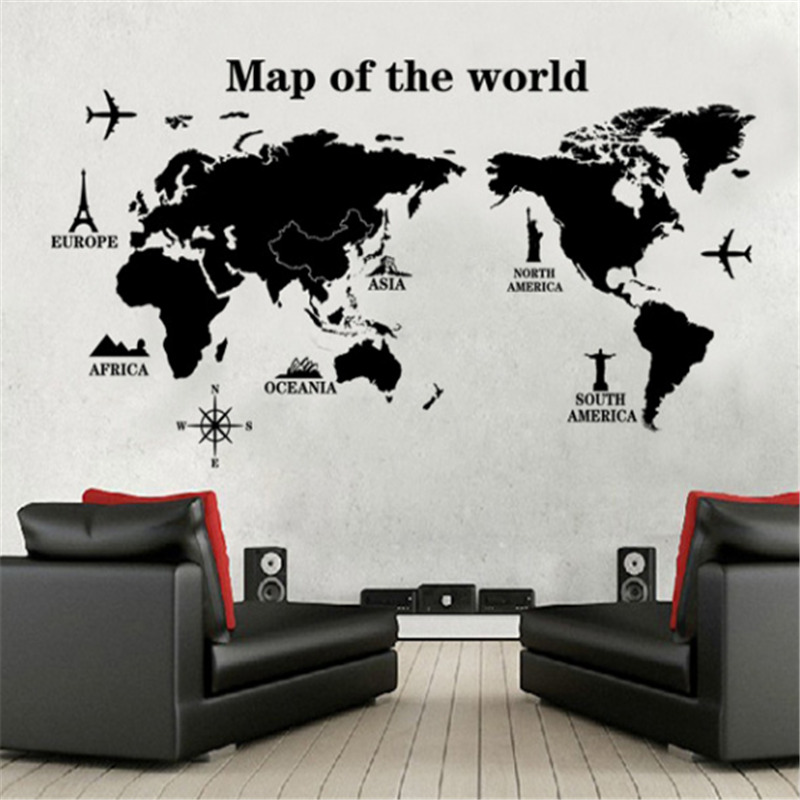 world map wall sticker art decal vinyl decor home bedroom office