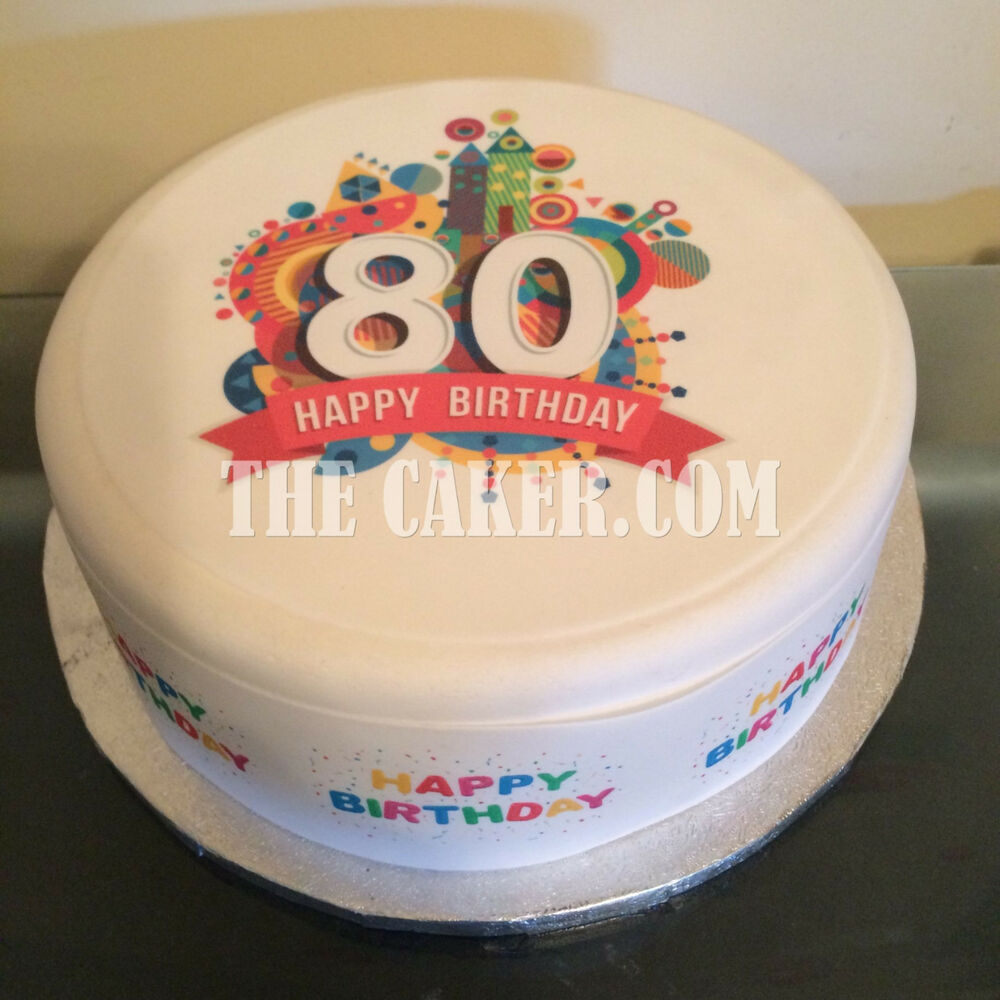 Details About Personalised 80th Birthday Pre Cut Edible Icing Cake Topper Or Ribbon 01