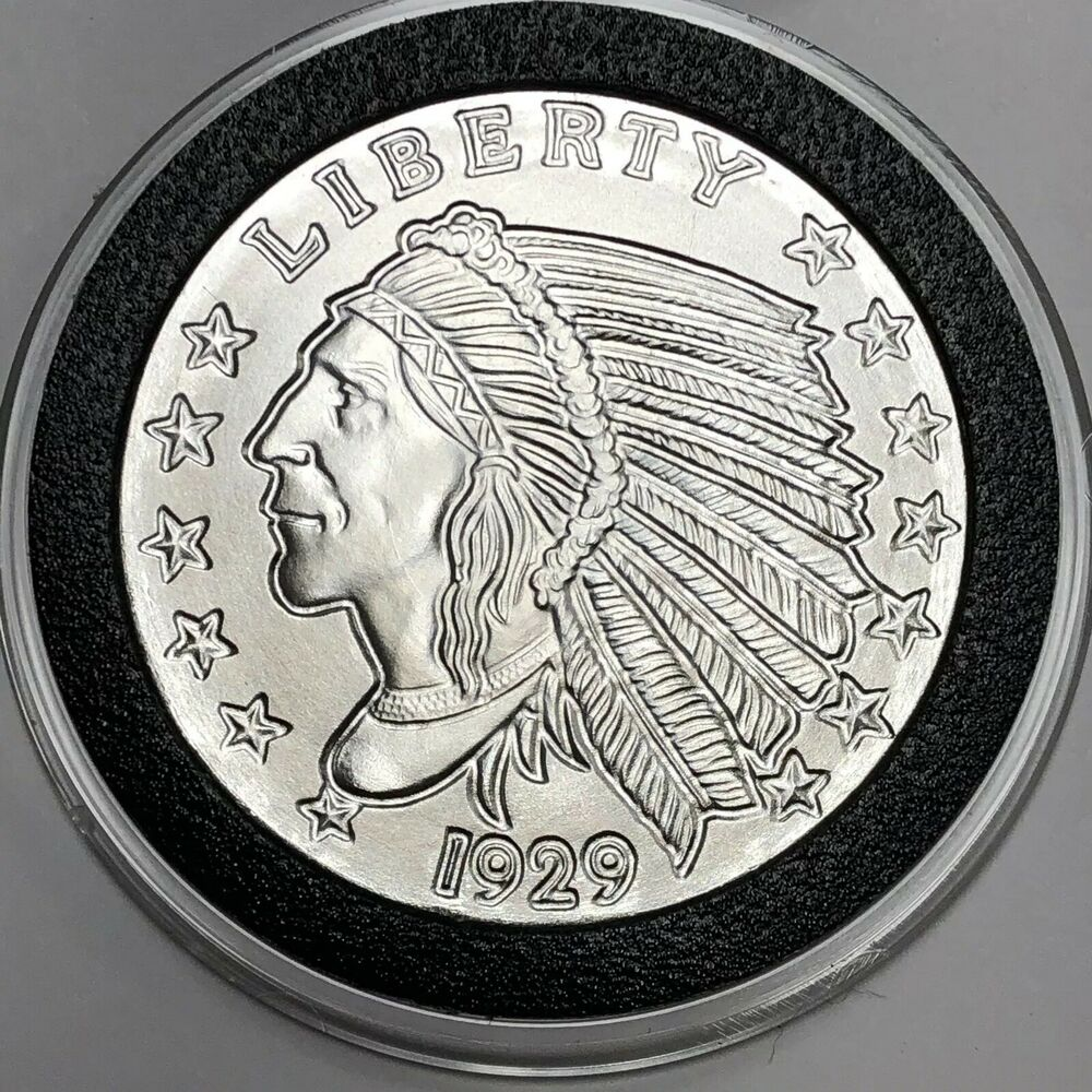 1929 Indian Head Collectible Art Riynd 1 Troy Oz 999 Fine
