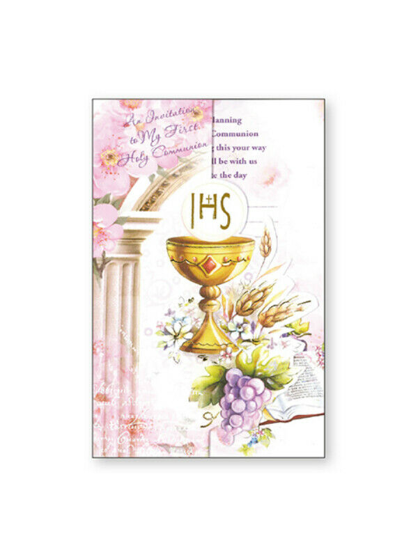 Details about First Holy Communion Invitation Cards - pack of 12 - Pink Tri Fold Card