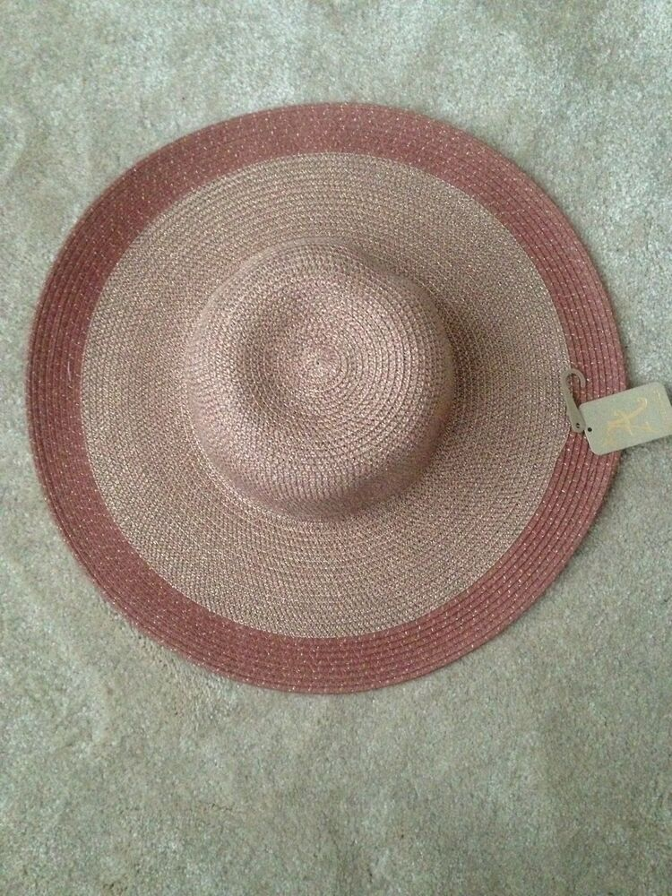 Details about Accessorize Rose Gold  Pink Coral Sun Beach Floppy Hat - One  Size Summer Holiday a4de8316465