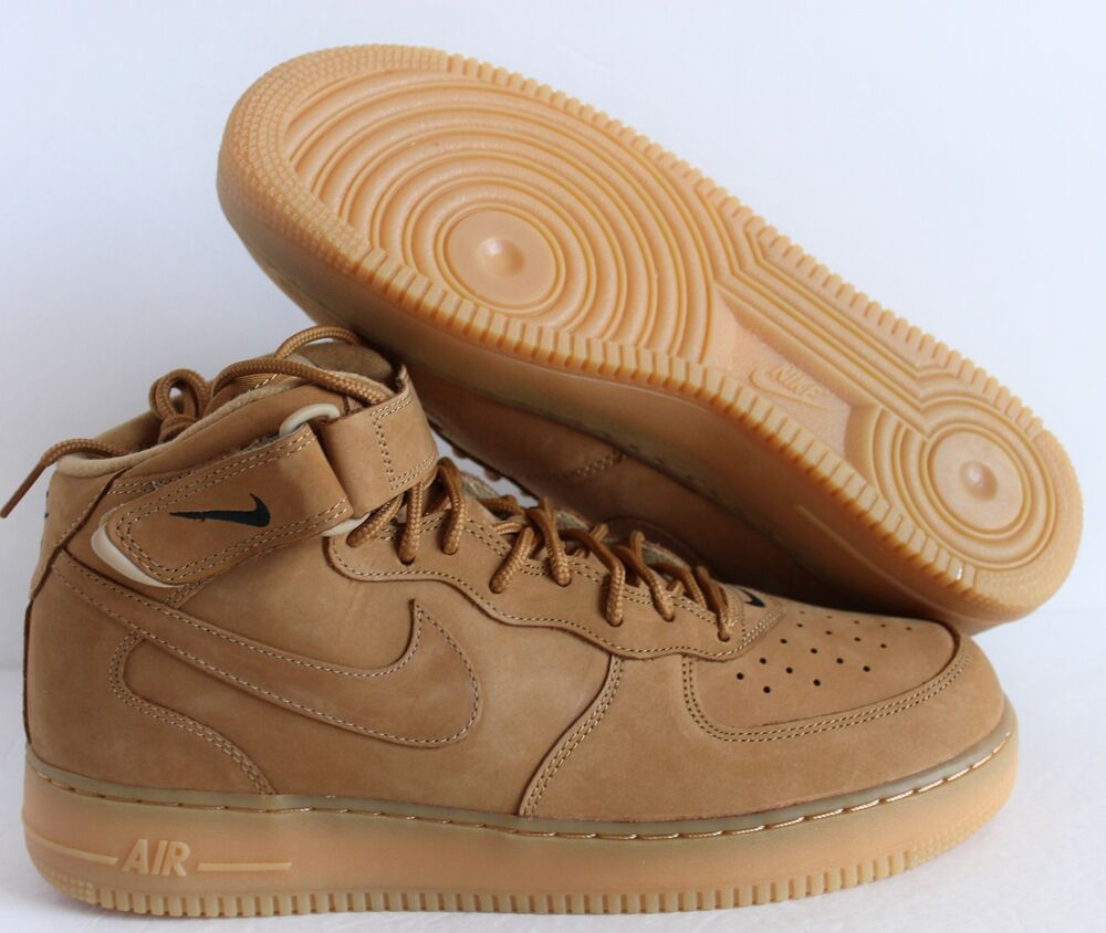 Details about NIKE AIR FORCE 1 MID 07 PRM PREMIUM QS FLAX-WHEAT SZ 9.5   715889-200  f934f82a3