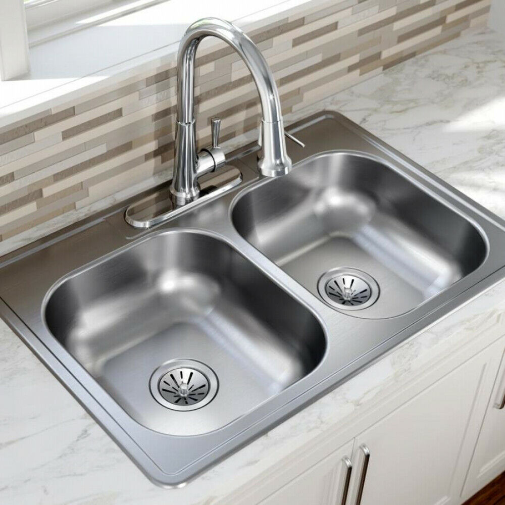 Details about double bowl kitchen sink stainless steel dual basin drop in 22 gauge 33 x 22