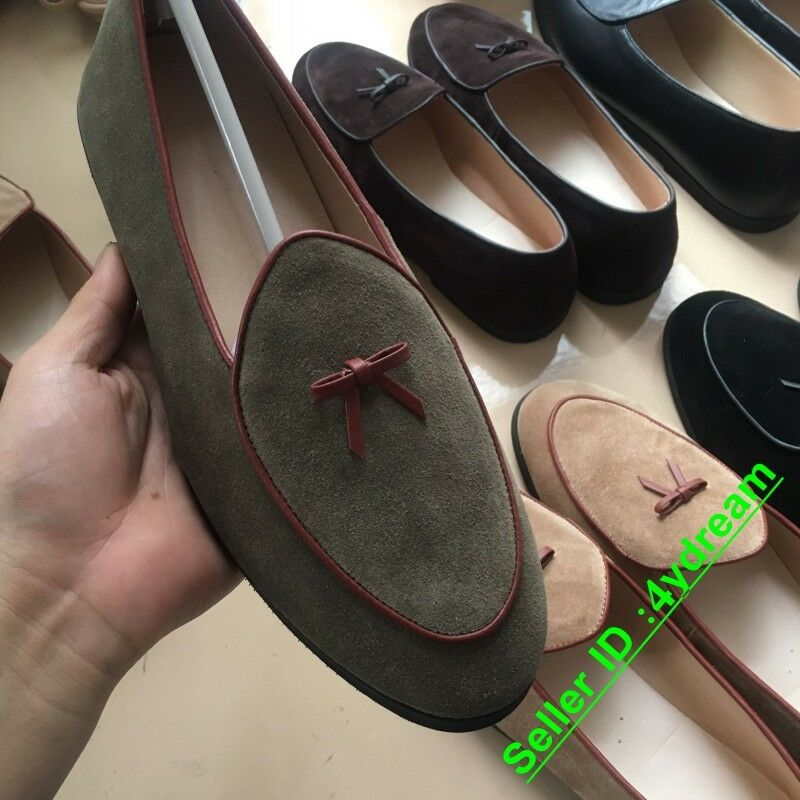 fff95738f43 Details about New Mens Suede Leather Slippers Loafers Slip on Flats Bowtie  Belgian Dress Shoes